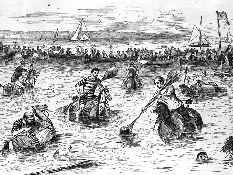 Proof the sport used to be pretty weird: a game of water polo, circa 1880. Although the barrels and mallets of the sport's early versions look quite unlike what's played today, note that even then there was one thing missing: actual horses.