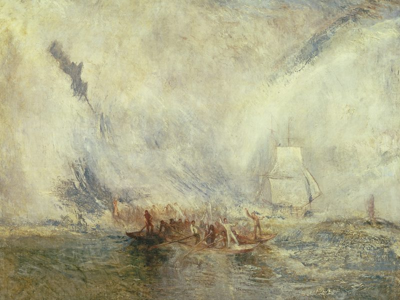 Joseph Mallord William Turner's oil painting, <em>Whalers</em>. Exhibited in 1845.
