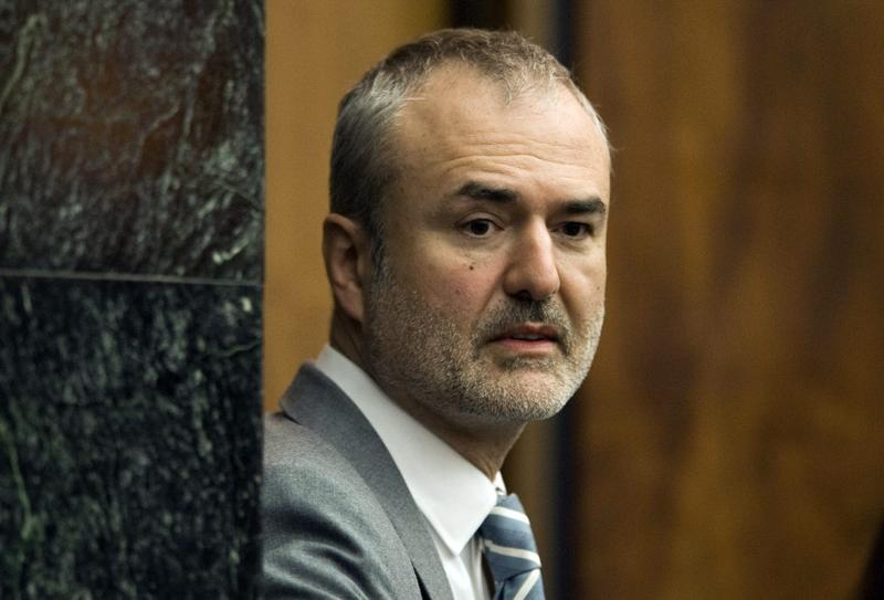 Gawker Media founder Nick Denton, arriving in a courtroom earlier this year. He filed for bankruptcy in the aftermath of a Florida jury's awarding $140 million to Hulk Hogan in a privacy case revolving around a sex tape posted on Gawker.com. (Steve Nesius/AP File)