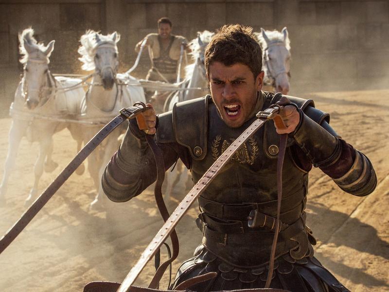 Toby Kebbell (rear) plays Messala Severus and Jack Huston (front) plays Judah Ben-Hur in <em>Ben-Hur.</em>