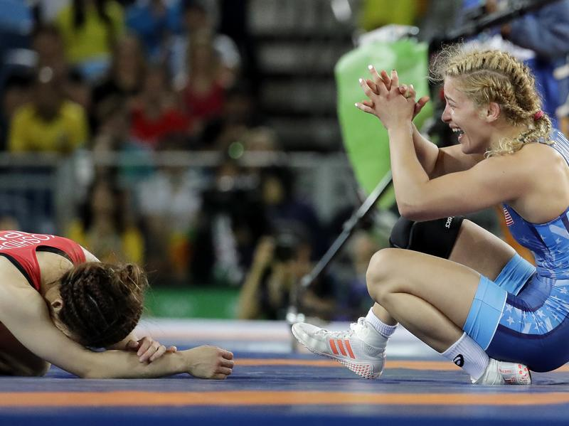 American Helen Maroulis celebrates after beating Japan's Saori Yoshida for the gold during the women's wrestling freestyle 53 kg competition in Rio on Thursday. It was the first U.S. gold ever in women's freestyle wrestling.