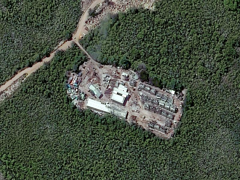 A closeup satellite image of the Australian-run detention camp on the Pacific Island nation of Nauru taken in July 2013.