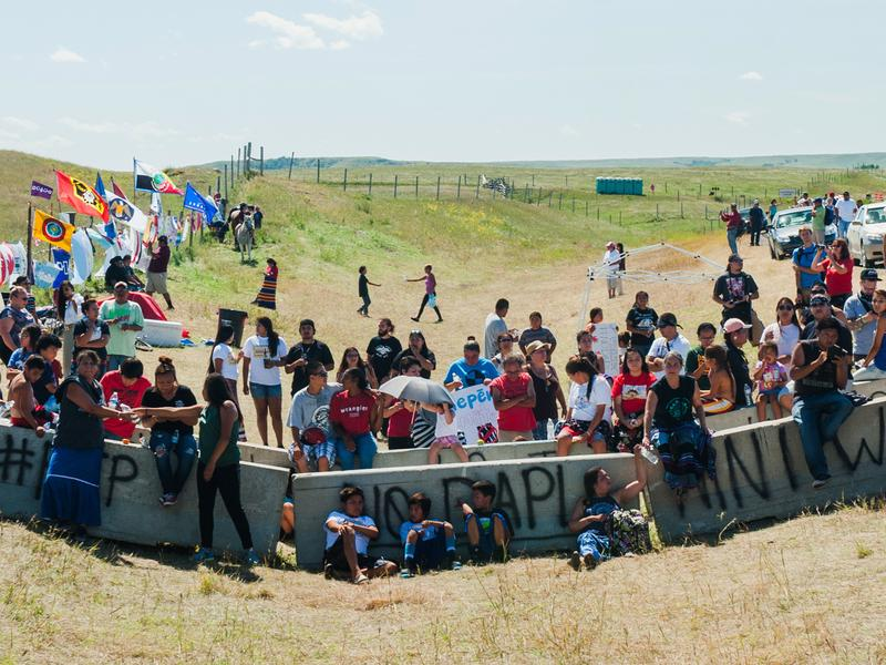 Native American protestors gather at a construction site for the Dakota Access pipeline to perform a daily prayer ceremony. Over 1,000 people, most Native American, have gathered at two prayer camps along the Cannonball River near its confluence with the Missouri in North Dakota to protest the Dakota Access pipeline.
