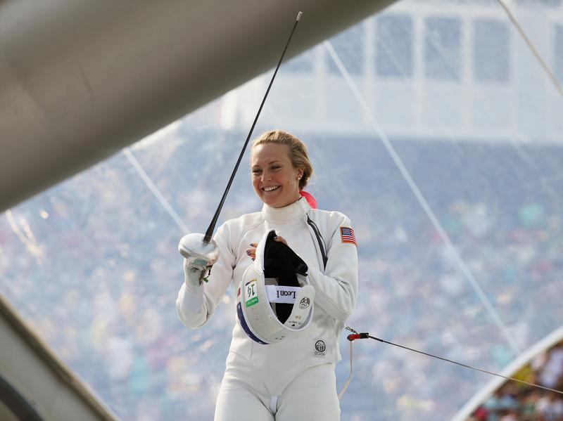 """American Margaux Isaksen smiles during the women's fencing in the Modern Pentathlon on Aug. 19 at the Rio Olympics. She finished fourth in London in 2012 and 20th in Rio. """"It makes you feel sort of worthless,"""" Isaksen says of her performance. She calls this current period a """"post-Olympic depression."""""""