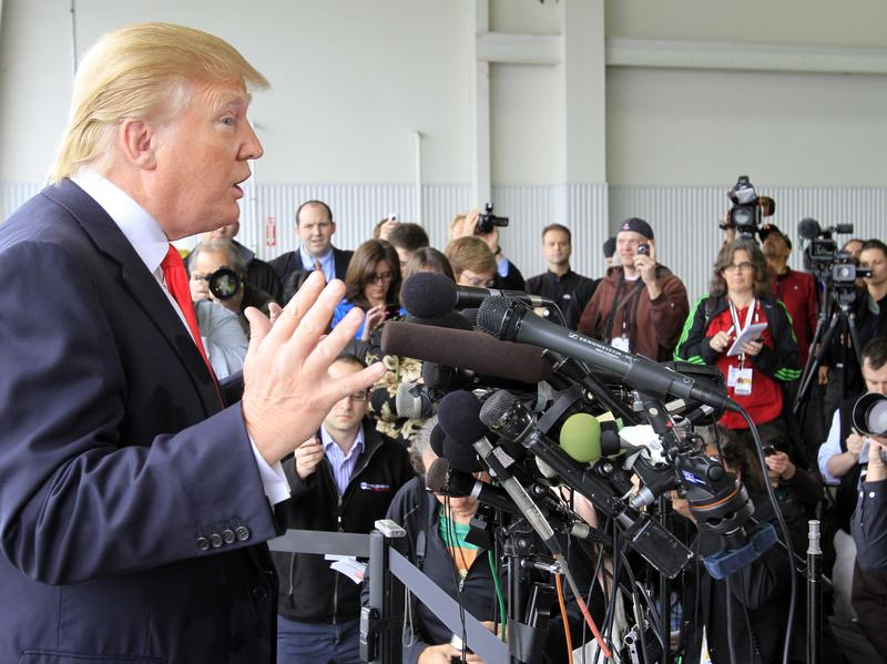 "Donald Trump in 2011 speaking to reporters in New Hampshire after President Obama released his long-form birth certificate. Trump said he was ""very proud"" to have forced the White House's decision."