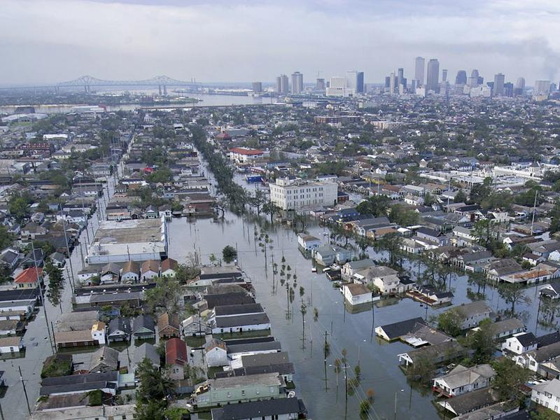 Floodwaters from Hurricane Katrina cover streets on Aug. 30, 2005, in New Orleans.