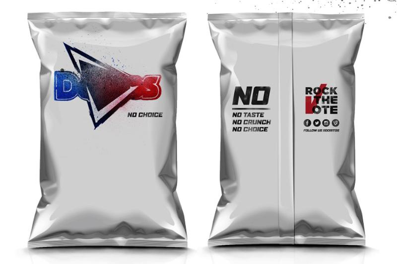 """A """"no choice"""" flavored bag of Doritos, which will go to vending machine customers who haven't registered to vote. (Courtesy Doritos)"""