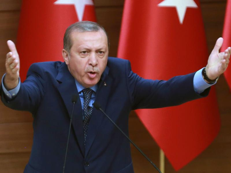 Turkish President Recep Tayyip Erdogan delivers a speech to provincial leaders in Ankara on Thursday.