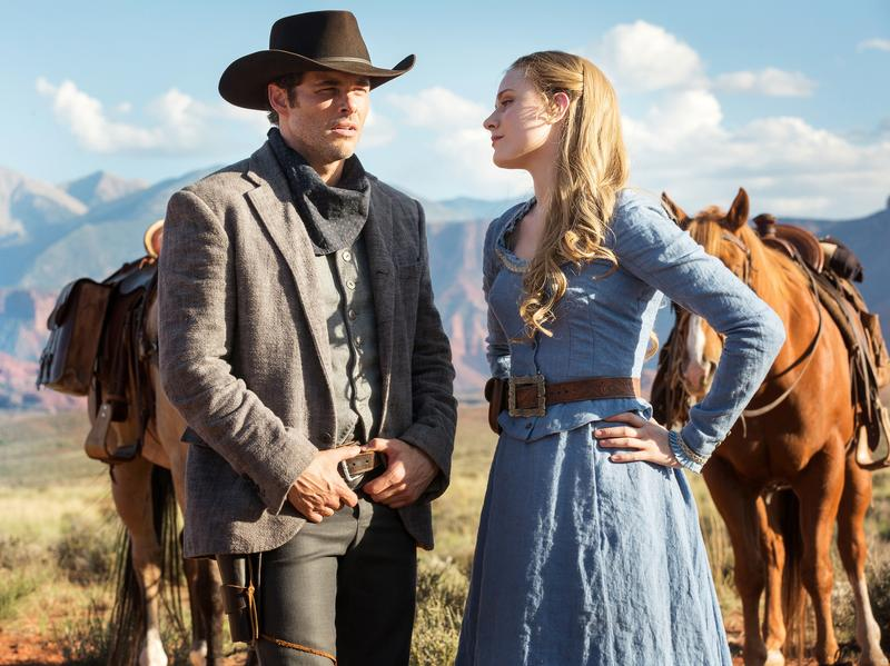 James Marsden plays a tourist and Evan Rachel Wood is a rancher's daughter in the HBO series <em>Westworld</em>, which premieres Sunday at 9 p.m. ET.