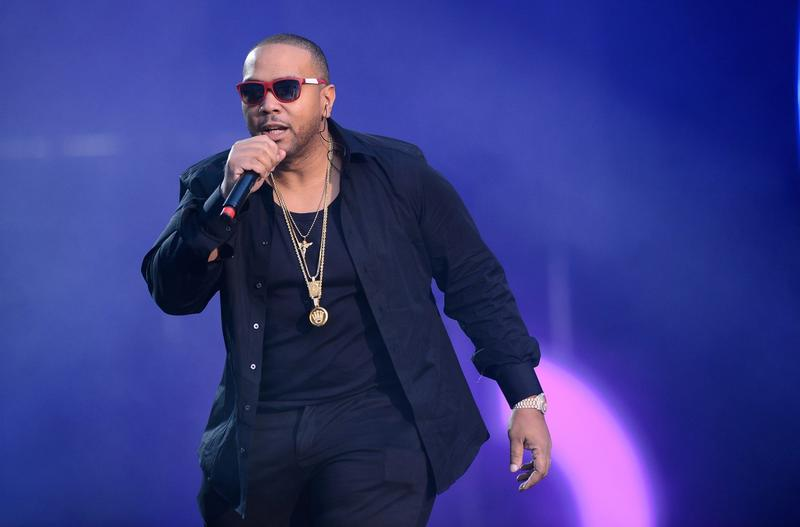 Singer Timbaland performs on stage at Twickenham Stadium on June 1, 2013, in London. (Ian Gavan/Getty Images for Gucci)