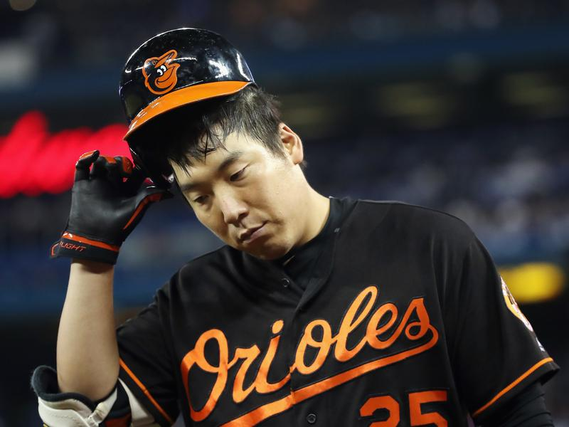 Hyun Soo Kim of the Baltimore Orioles reacts after grounding out in the sixth inning against the Toronto Blue Jays during the American League Wild Card game at Rogers Centre in Toronto, Canada, on Tuesday.