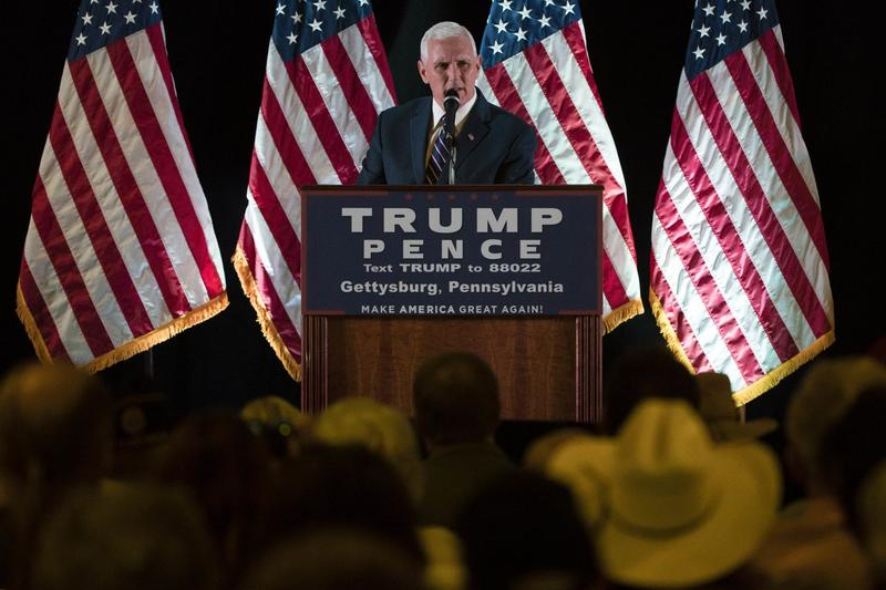 Republican vice presidential candidate, Indiana Gov. Mike Pence speaks during a campaign stop in Gettysburg, Pa., Thursday, Oct. 6, 2016. (Matt Rourke/AP)