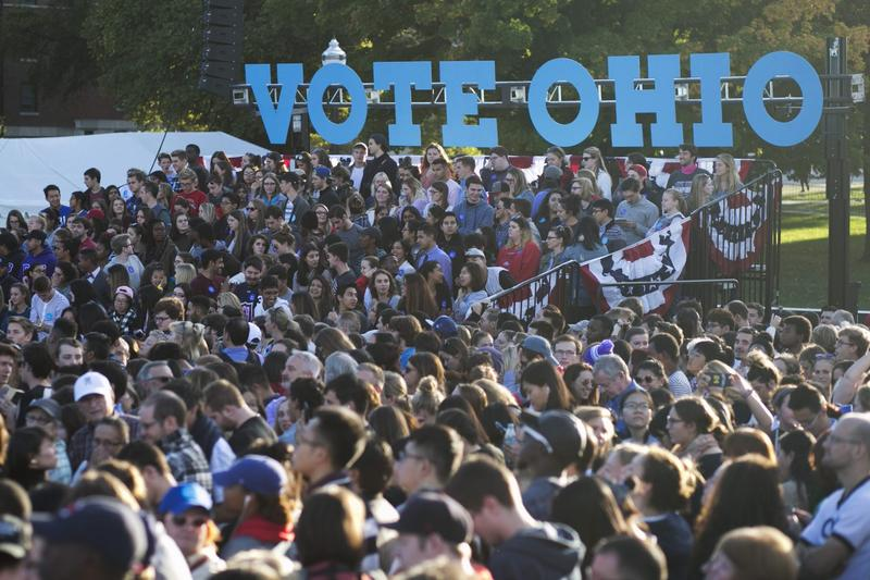 People wait for Democratic presidential nominee Hillary Clinton to arrive at Ohio State University on Oct. 10, 2016 in Columbus, Ohio. The Real Clear Politics polling average puts Clinton half a percentage point ahead of Trump in the state. (Maddie McGarvey/Getty Images)