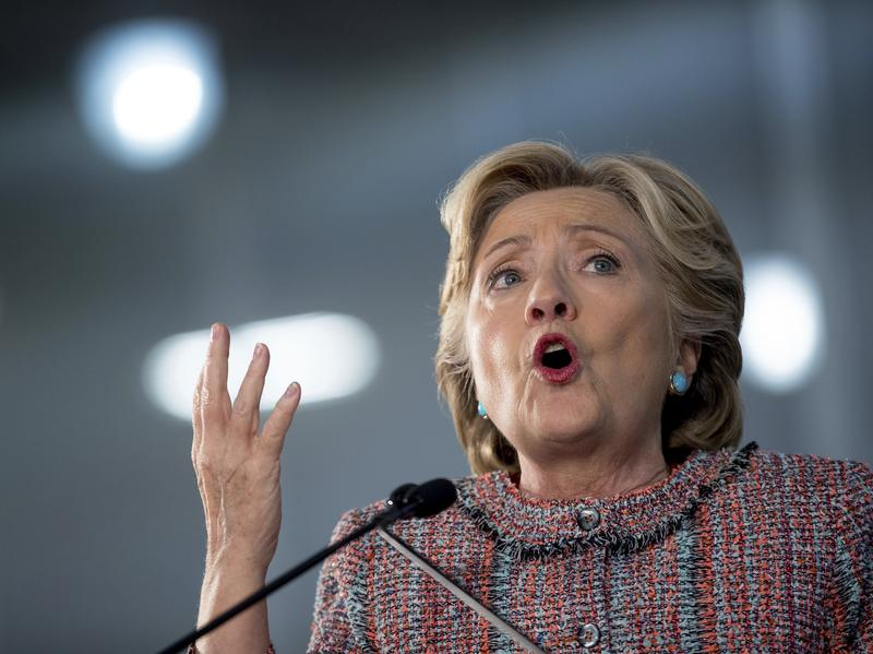 Hillary Clinton speaks at a rally at Miami-Dade College in Miami.