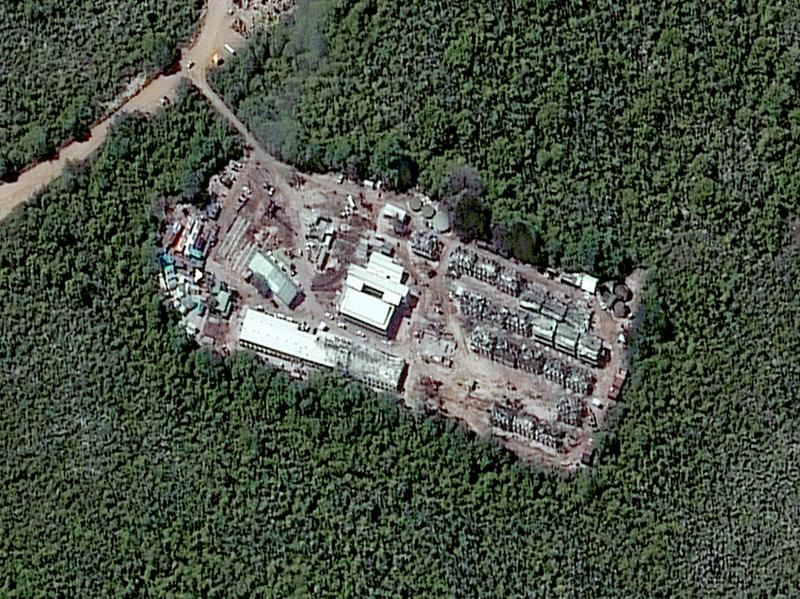 A closeup satellite image of a detention camp in Nauru taken on July 24, 2013.