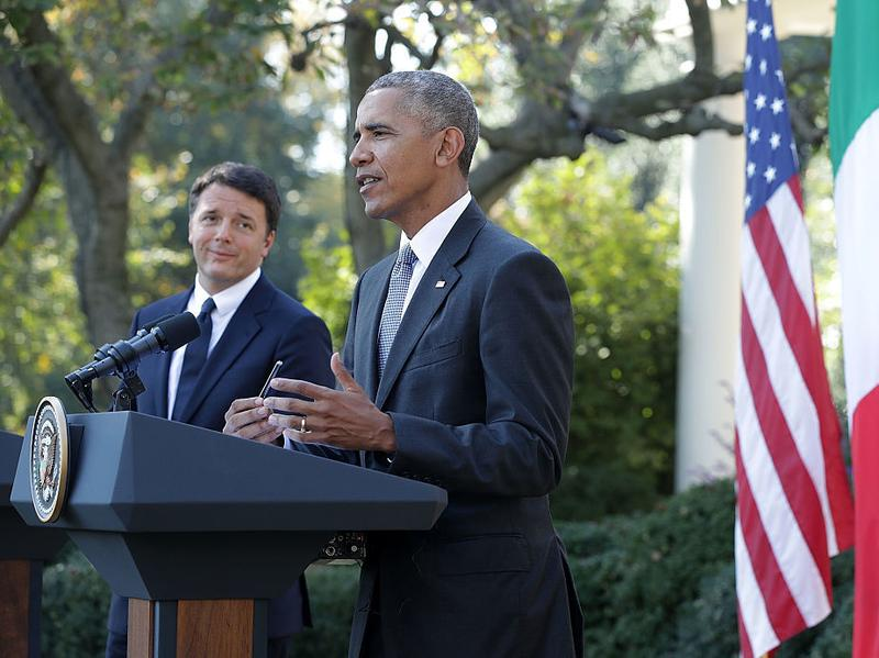 President Obama and Italian Prime Minister Matteo Renzi participate in a joint news conference in the White House Rose Garden on Tuesday.