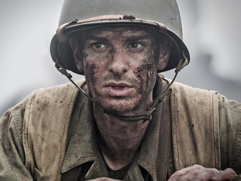 Andrew Garfield is army medic — and conscientious objector — Desmond Doss in director Mel Gibson's <em>Hacksaw Ridge.</em>