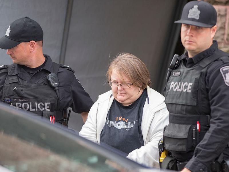 Elizabeth Tracey Mae Wettlaufer, a former nurse accused of murdering eight elderly patients, leaves the courthouse Tuesday in Woodstock, Ontario.