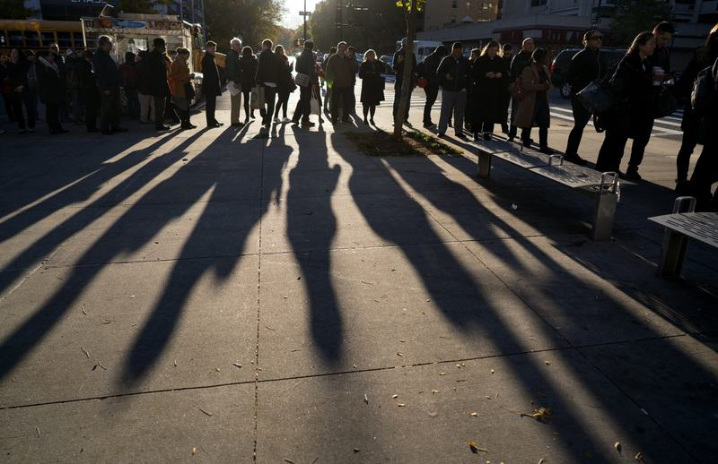 A line forms as people wait to vote on Election Day in the Upper West Side of Manhattan on Tuesday, Nov. 8, 2016, in New York. (Craig Ruttle/AP)