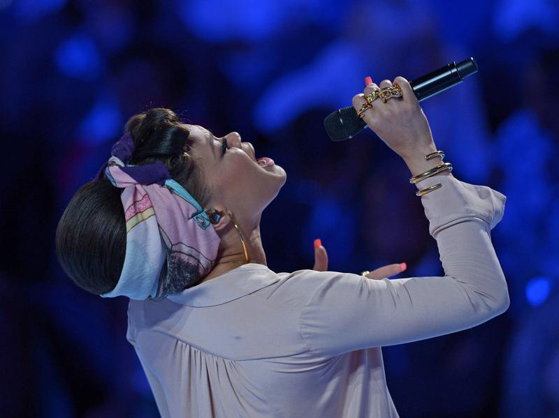 "Andra Day, performing at the 2016 Democratic National Convention in Philadelphia. Her song ""Rise Up"" plays regularly at Hillary Clinton rallies."