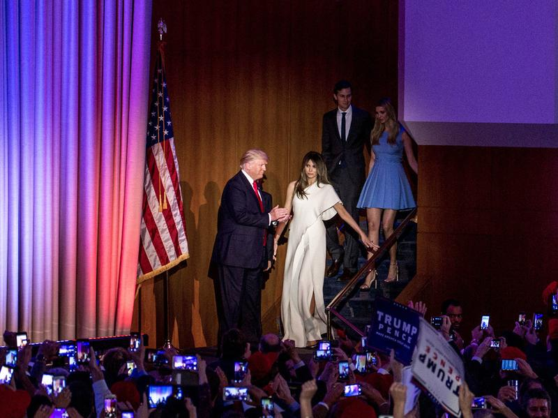Donald Trump escorts his wife, Melania, to the stage moments before giving his acceptance speech.