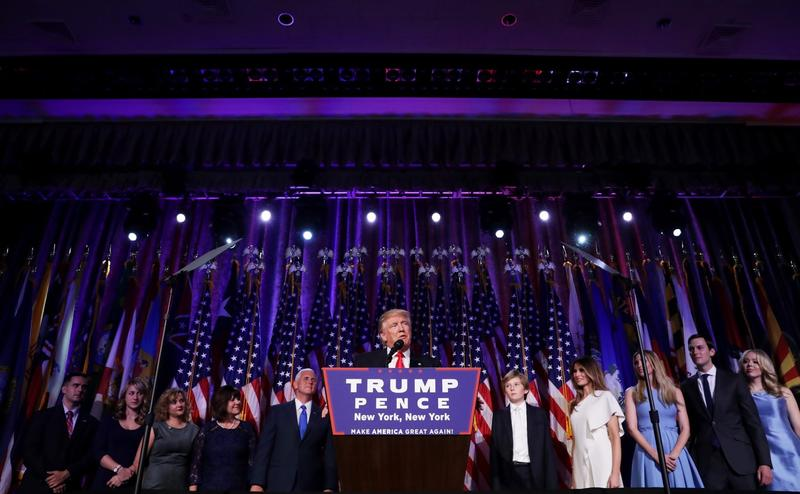 Republican president-elect Donald Trump delivers his acceptance speech during his election night event at the New York Hilton Midtown in the early morning hours of Nov. 9, 2016 in New York. (Chip Somodevilla/Getty Images)