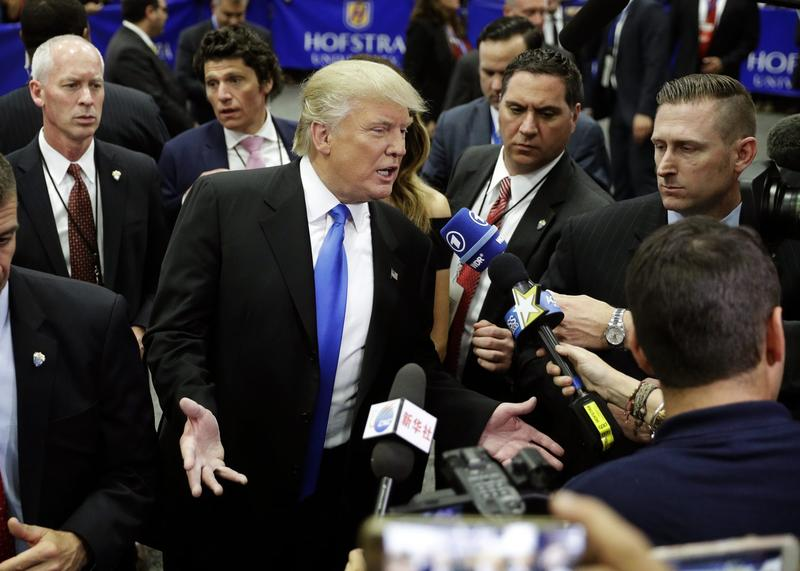 Republican presidential candidate Donald Trump speaks with the media after the presidential debate between Trump and Democratic presidential candidate Hillary Clinton at Hofstra University, Monday, Sept. 26, 2016, in Hempstead, N.Y. (John Locher/AP)