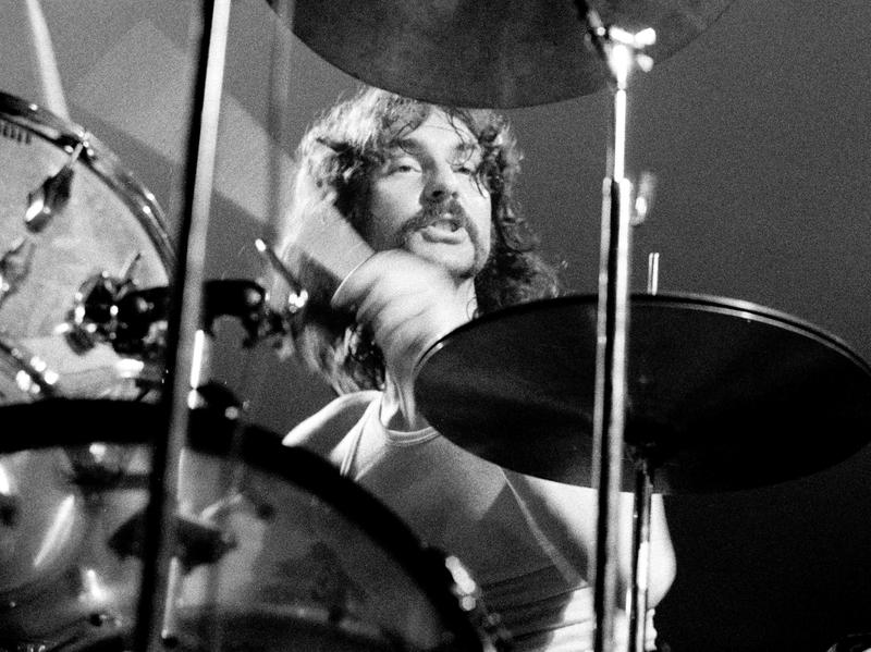 Pink Floyd drummer Nick Mason performs live in Denmark in 1971.