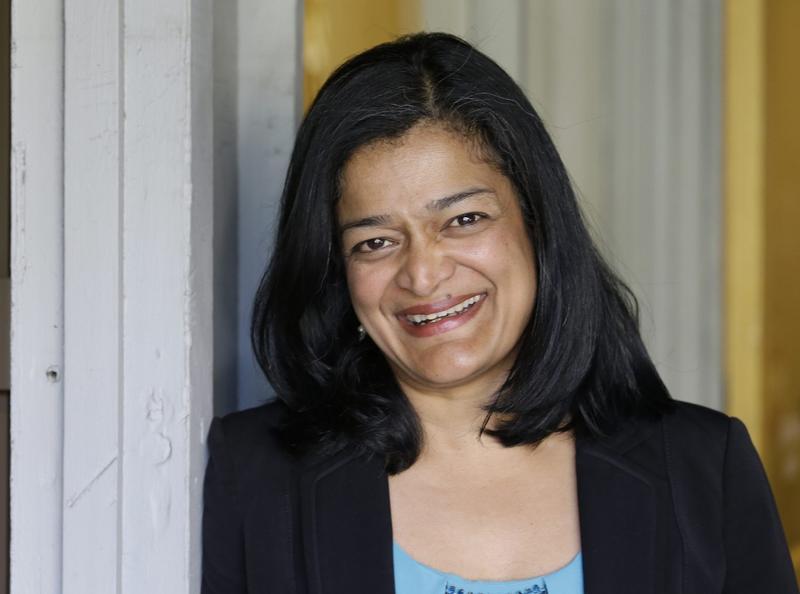 Congresswoman-elect Pramila Jayapal, posing for a photo in Seattle in April 2016. (Elaine Thompson/AP)