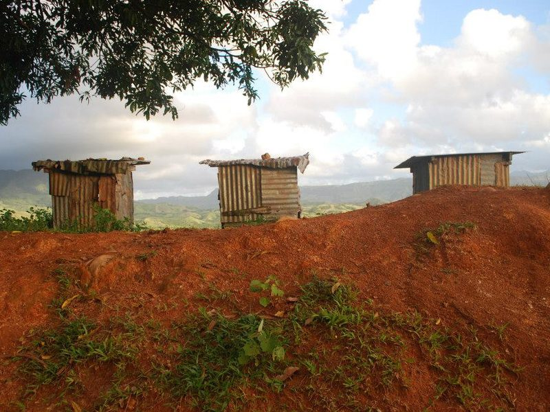 A trio of toilets, photographed by Samantha Russell, a Peace Corps volunteer, in Viti Levu Island, Fiji.