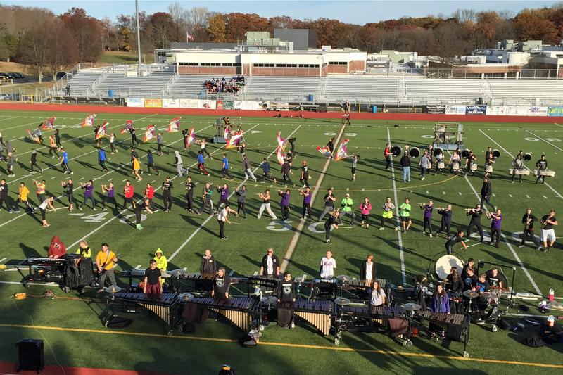 The Trumbull High School marching band during a practice in Trumbull, Conn. (Lynn Menegon/Here & Now)