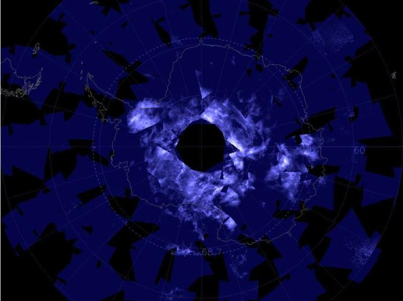 Data collected between Nov. 17-28 by NASA's Aeronomy of Ice in the Mesosphere, or AIM, spacecraft Antarctica covered in glowing electric blue due to the start of noctilucent, or night-shining, cloud season.