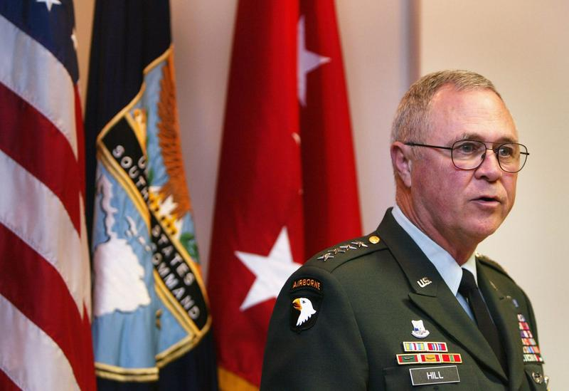 U.S Army Gen. James T. Hill, United States Southern Command, addresses the media in April 2004 in Miami. (Joe Raedle/Getty Images)