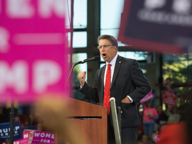 North Carolina Gov. Pat McCrory speaks during a Trump rally in November.
