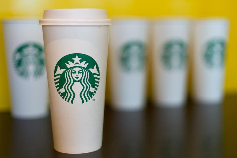 A collection of venti sized Starbucks take away cups on Feb. 18, 2016 in London, England. (Ben Pruchnie/Getty Images)