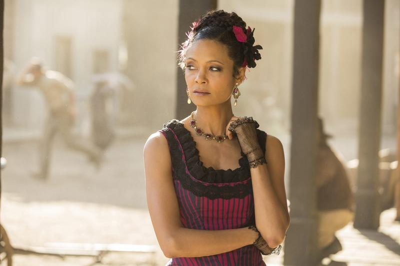 """This image released by HBO shows Thandie Newton in a scene from, """"Westworld."""" Newton was nominated for a Golden Globe award for best supporting actress in a limited series or motion picture made for TV on Monday, Dec. 12, 2016. (John P. Johnson/HBO via AP)"""