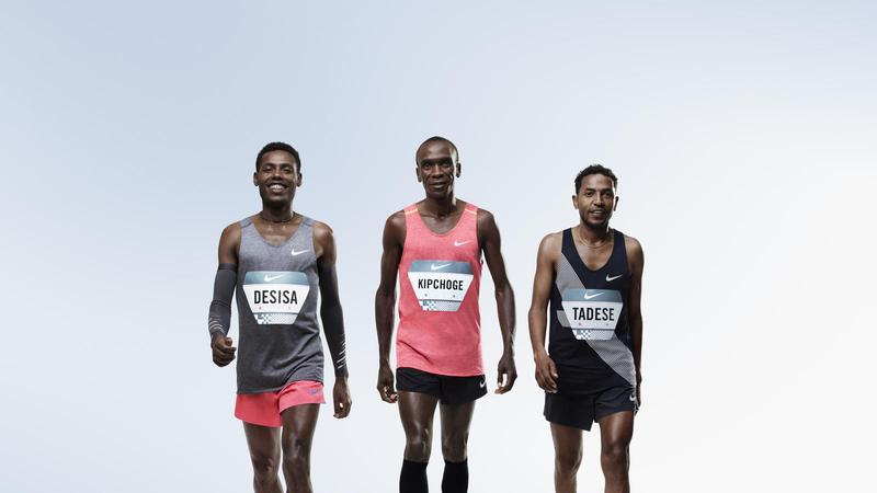 Runners (left to right) Lelisa Desisa, Eliud Kipchoge and Zersenay Tadese of Nike's Breaking2 project. (Courtesy Nike)