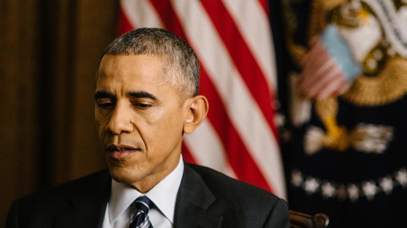 NPR's Steve Inskeep interviews President Obama in the Cabinet Room of the White House on Thursday. (NPR)