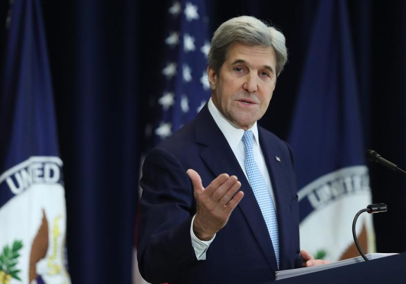 Secretary of State John Kerry speaks about Israeli-Palestinian policy, Wednesday, Dec. 28, 2016, at the State Department in Washington. (Andrew Harnik/AP)