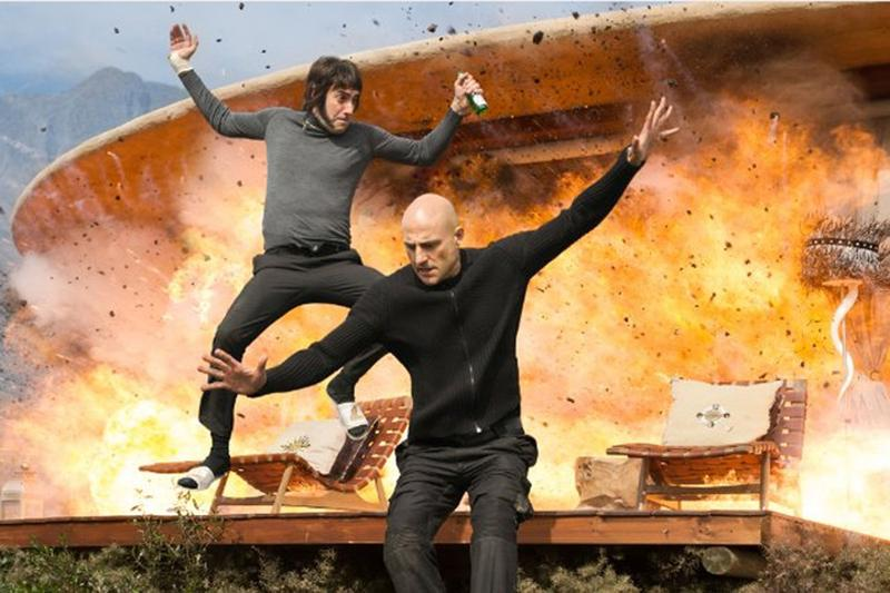 """Sacha Baron Cohen and Mark Strong in the upcoming action comedy film, """"The Brothers Grimsby."""" (Courtesy Sony Pictures)"""