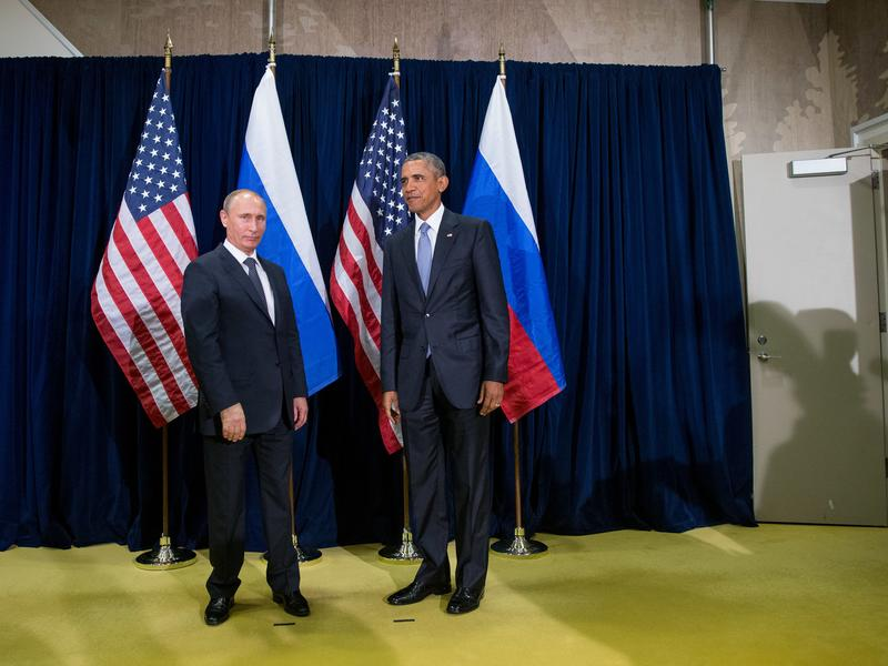 President Obama and Russian President Vladimir Putin pose for the media before a bilateral meeting at United Nations headquarters on Sept. 28, 2015.