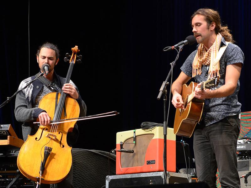 The folk duo Tall Heights performing at the Culture Center Theater in Charleston, W.Va.