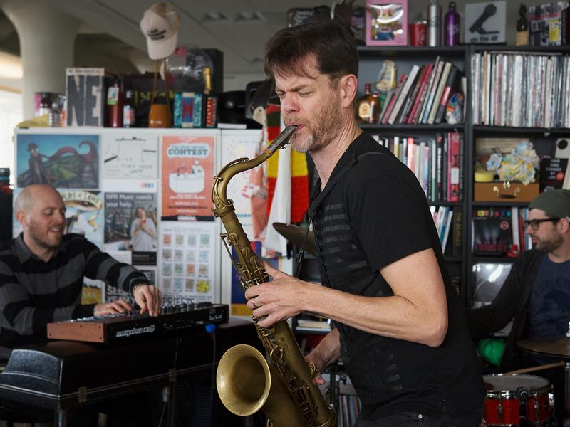 Donny McCaslin performs a Tiny Desk Concert on Nov. 28, 2016. (Raquel Zaldivar/NPR)