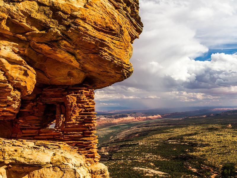 A prehistoric granary overlooking Cedar Mesa, a site inside the newly created Bears Ears National Monument in Utah that is sacred to many Native American tribes. Natives still hunt and forage for food and medicine throughout the Bears Ears region.