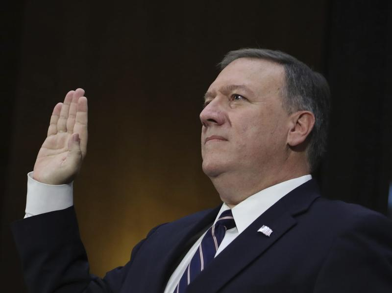 CIA Director-designate Rep. Michael Pompeo, R-Kan. is sworn in on Capitol Hill in Washington, Thursday, Jan. 1, 2017, prior to testifying at his confirmation hearing before the Senate Intelligence Committee. (Manuel Balce Ceneta/AP)