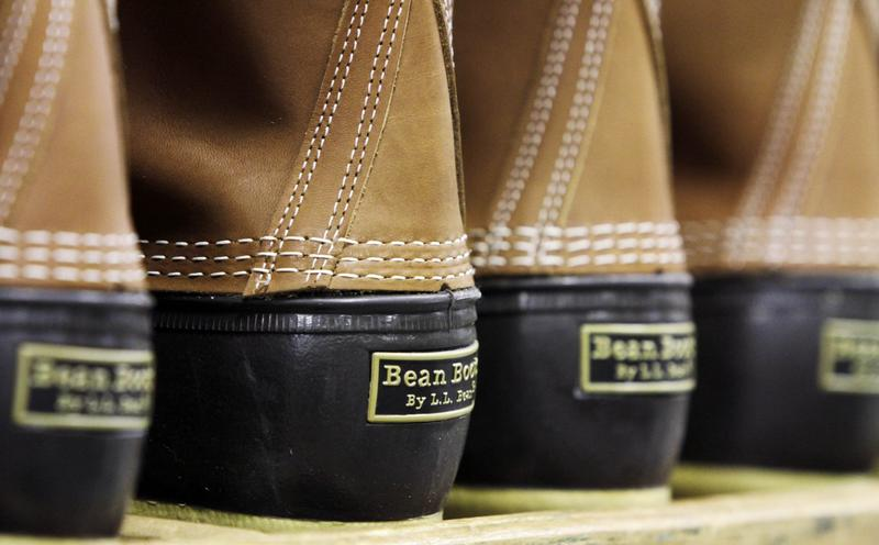 Pairs of boots are seen in the facility where L.L. Bean boots are assembled in Brunswick, Maine, in 2011. (Pat Wellenbach/AP)