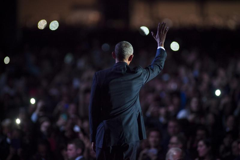 President Barack Obama waves to supporters after delivering his farewell speech at McCormick Place on Jan. 10, 2017 in Chicago. (Darren Hauck/Getty Images)