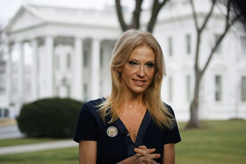 "Counselor to the president Kellyanne Conway prepares to appear on ""Meet The Press,"" from the north lawn at the White House, Jan. 22, 2017 in Washington. (Mark Wilson/Getty Images)"