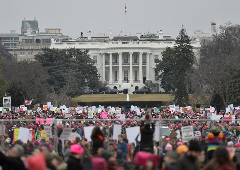 Demonstrators protest near the White House in Washington for the Women's March on Jan. 21, 2017. (Andrew Caballero-Reynolds/AFP/Getty Images)