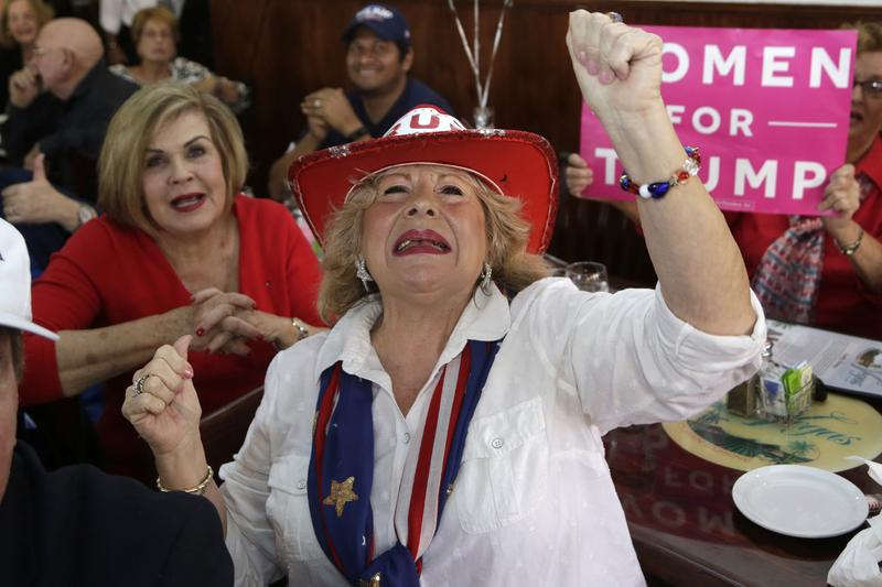 Martie Mees cheers as she watches a televised broadcast of the presidential inauguration of Donald Trump  during a watch party organized by Hispanas for Trump, in Miami. (Lynne Sladky/AP)